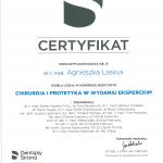 Certyfikat udziału w kongresie Dr Agnieszka Laskus
